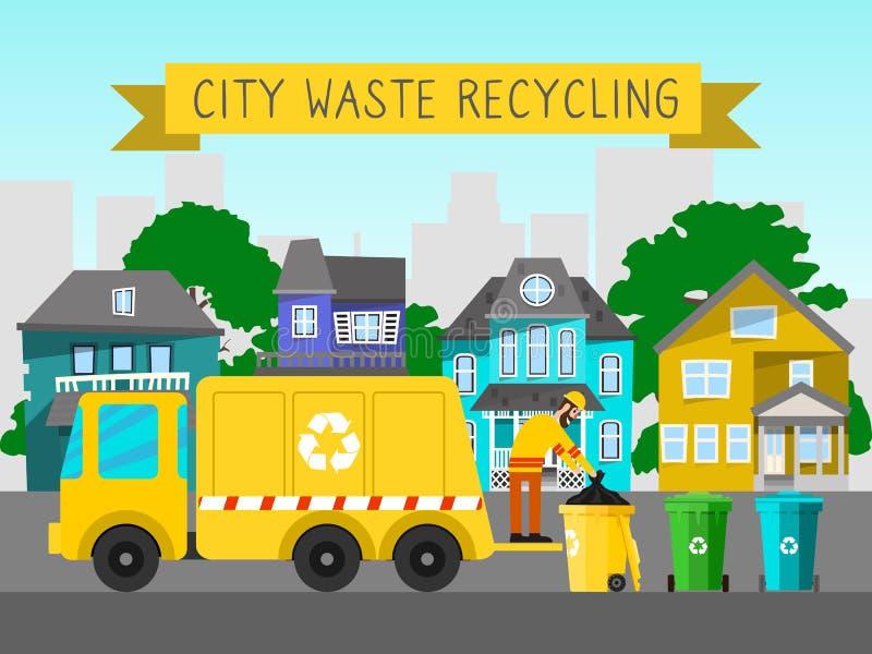 Повторно используйте иллюстрацию вектора погани ящика знамени мусоровоза города ненужную ewaste домочадца контейнера хлама электр бесплатная иллюстрация