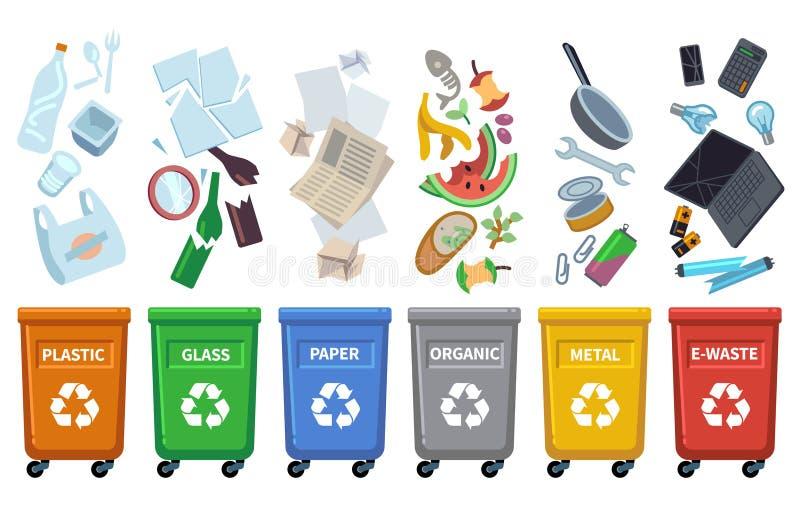 Повторно используйте ненужные ящики Различные типы погани красят контейнеры сортируя консервной банки бумаги погани отходов бутыл иллюстрация штока