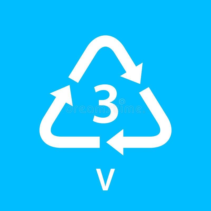 Повторно используйте типы 3 треугольника v стрелки изолированные на голубой предпосылке, типе логотипе symbology 3 пластиковых ма бесплатная иллюстрация
