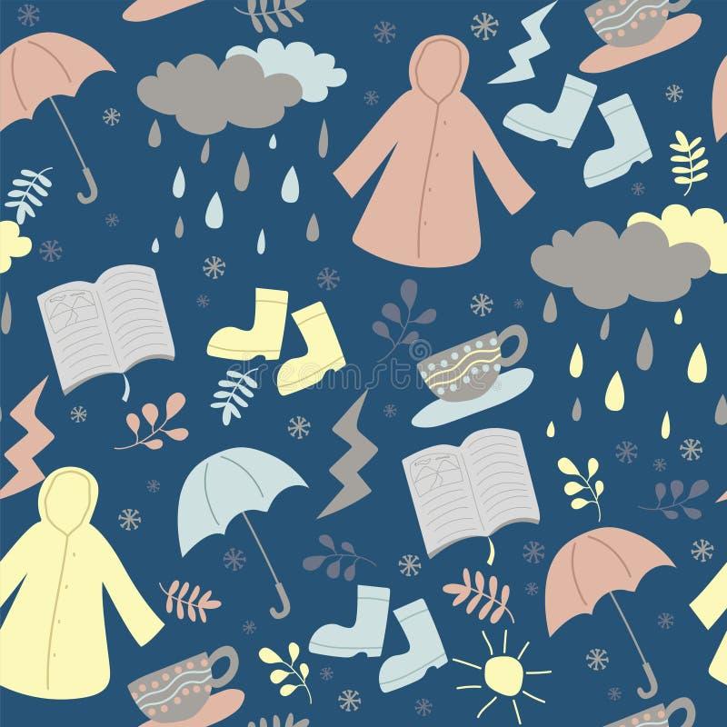 Повторять безшовную картину сезона дождливого дня в стиле doodle иллюстрация вектора