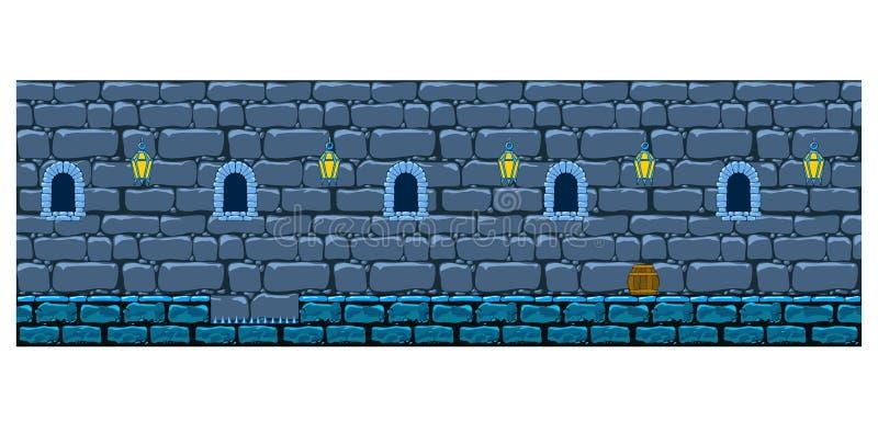 Повторять стену предпосылки каменную замка иллюстрация штока