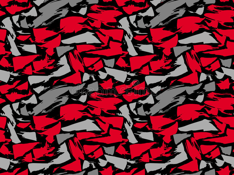Повторять текстуры картины безшовный Красные и серые пятна на черной предпосылке Предпосылка вектора повторение иллюстрация вектора