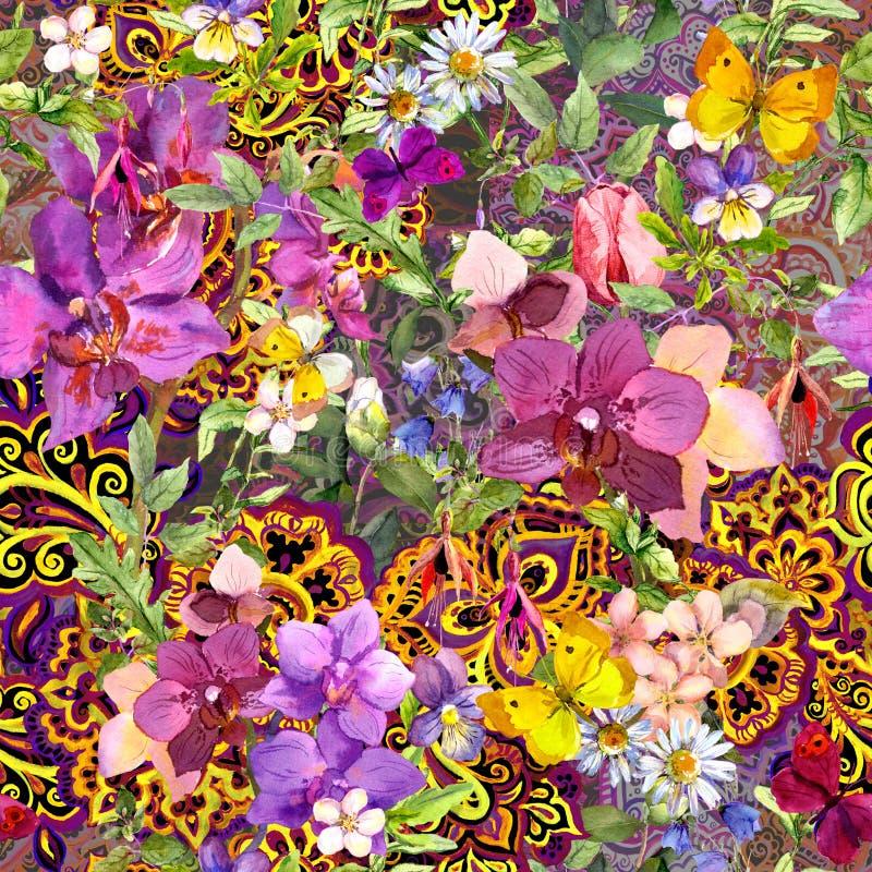 Повторять флористические обои Декоративный восточный орнамент Пейсли, цветки акварель стоковые изображения