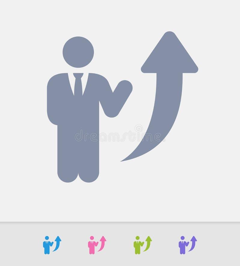 Повышение бизнесмена - значки гранита иллюстрация штока