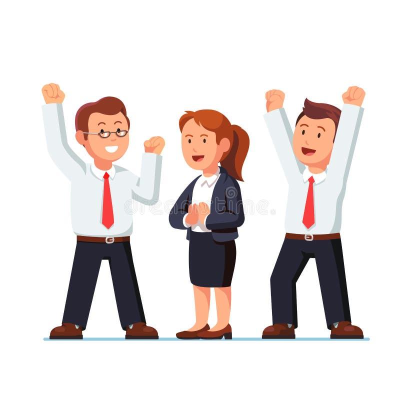 Повышение бизнесмена и женщины вручает вверх над головами иллюстрация штока