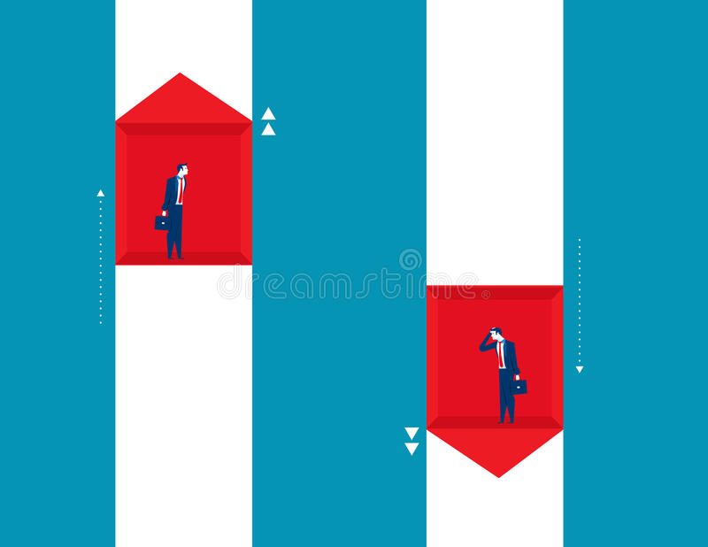 Повышение бизнесмена и падение дела Busin индикаторов концепции бесплатная иллюстрация