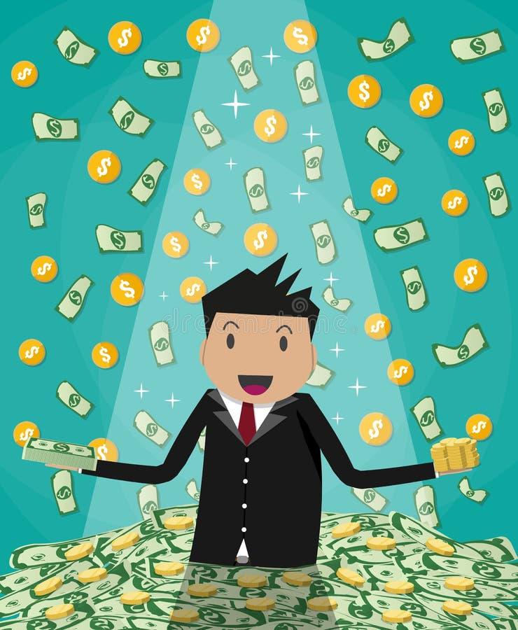 Повышение бизнесмена от огромной кучи счетов денег бесплатная иллюстрация