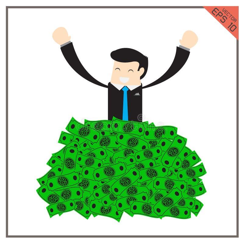 Повышение бизнесмена счастливого супер богатого набора успешное от огромного зеленого цвета иллюстрация вектора
