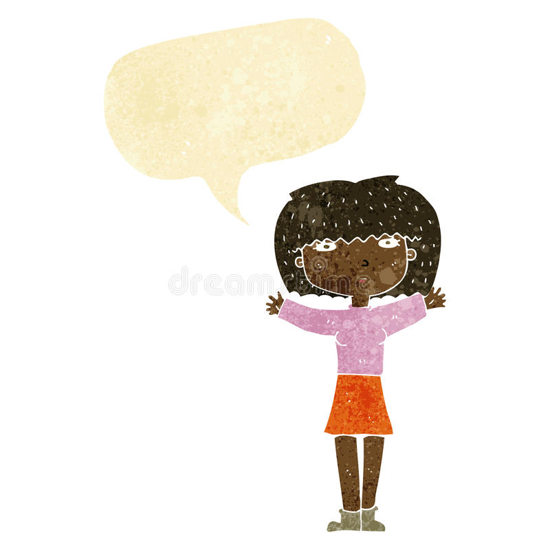 повышение женщины шаржа подготовляет в воздухе с пузырем речи иллюстрация штока