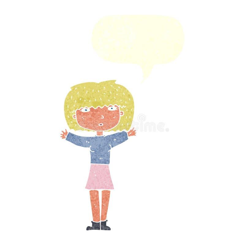 повышение женщины шаржа подготовляет в воздухе с пузырем речи иллюстрация вектора