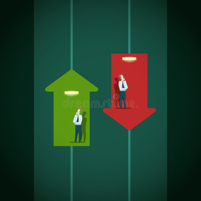 Повышение и падение индикаторов дела Концепция подъема карьеры бесплатная иллюстрация