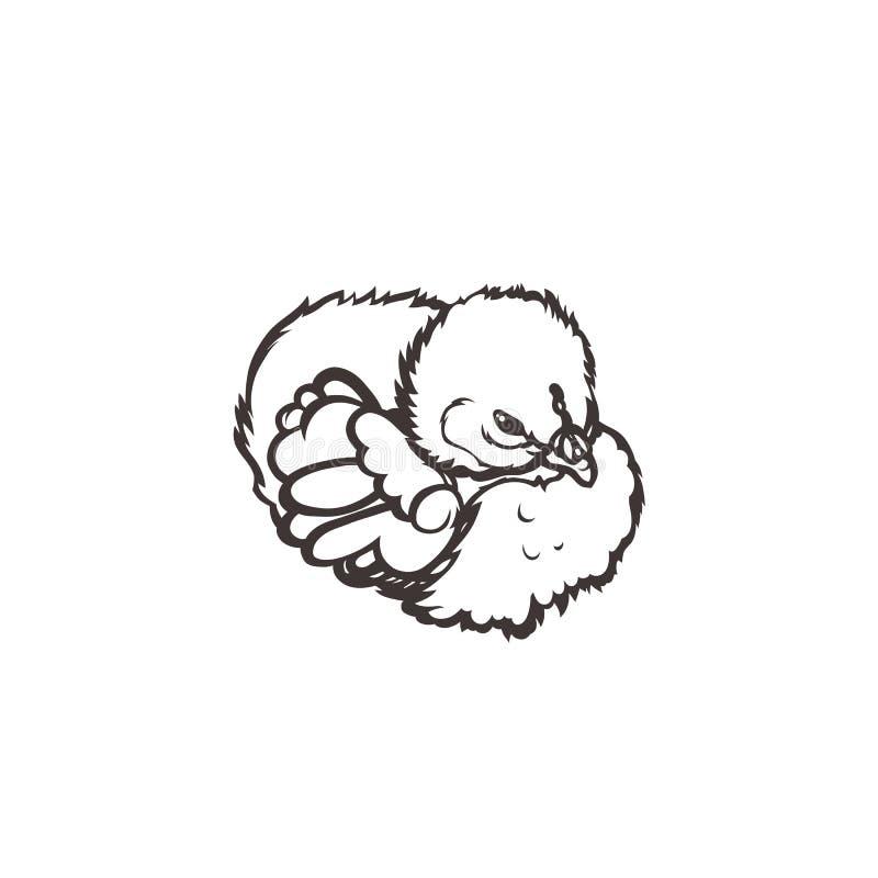Повышение поголовья сельского хозяйства птицы цыпленока вычерченная рука бесплатная иллюстрация