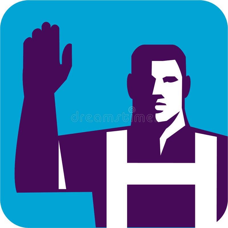 Повышение правой руки работника для голосования квадратное ретро бесплатная иллюстрация