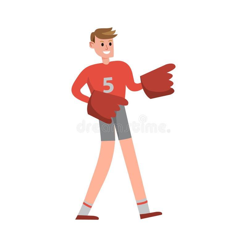 Повышение сторонника потехи американского футбола вручает нося иллюстрацию вектора персонажа из мультфильма пальца пены иллюстрация вектора