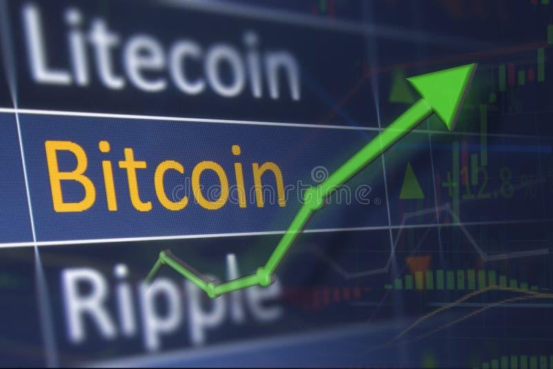 Повышение цены Bitcoin на диаграмме обменом и выгода от инвестировать Концепция экономической выгоды и дела бесплатная иллюстрация
