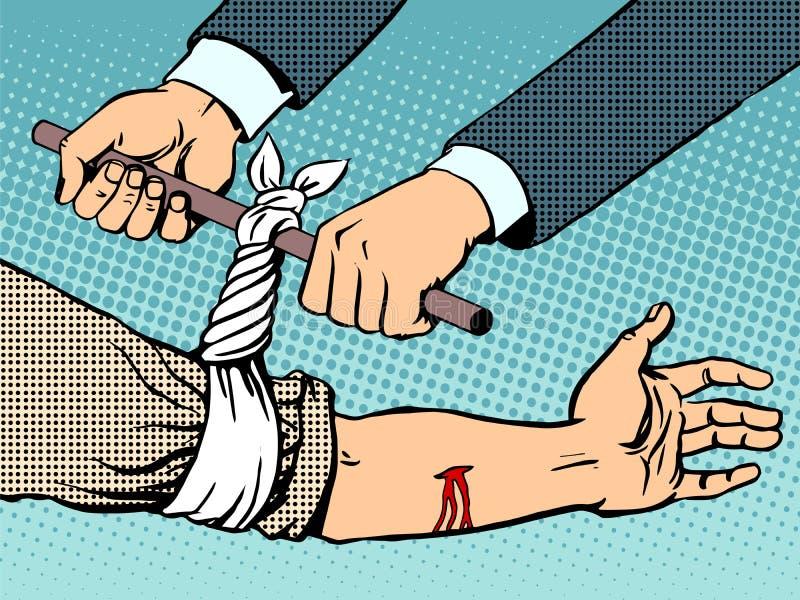 Повязка для того чтобы остановить кровотечение после быть раненным иллюстрация вектора