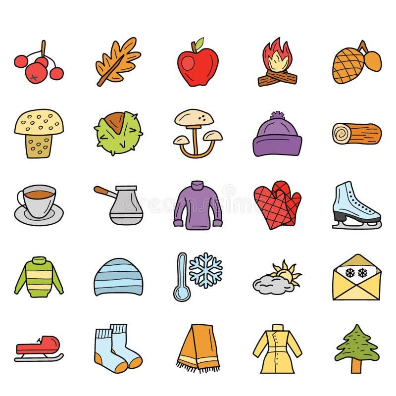 Погода, еда и значки праздника пакуют бесплатная иллюстрация
