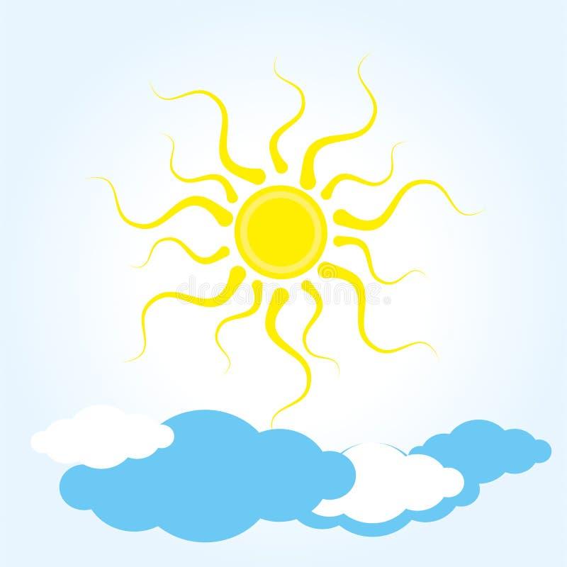 Погода значка ясная жара лета, облака, теплая погода бесплатная иллюстрация