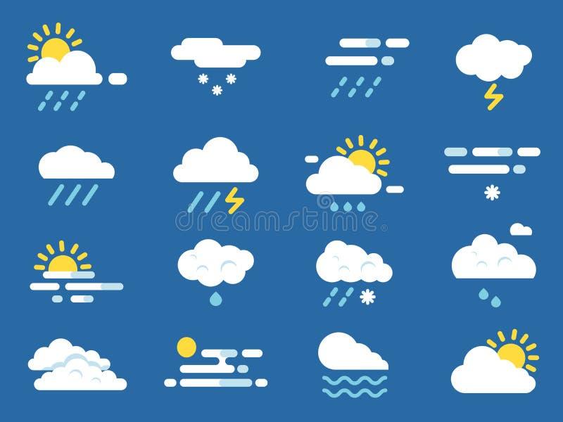 погода иконы установленная Символы Meteo Изображения вектора в плоском стиле иллюстрация вектора