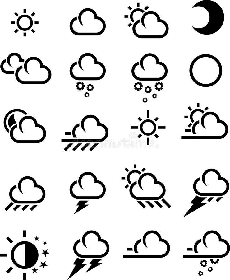погода икон bw иллюстрация вектора