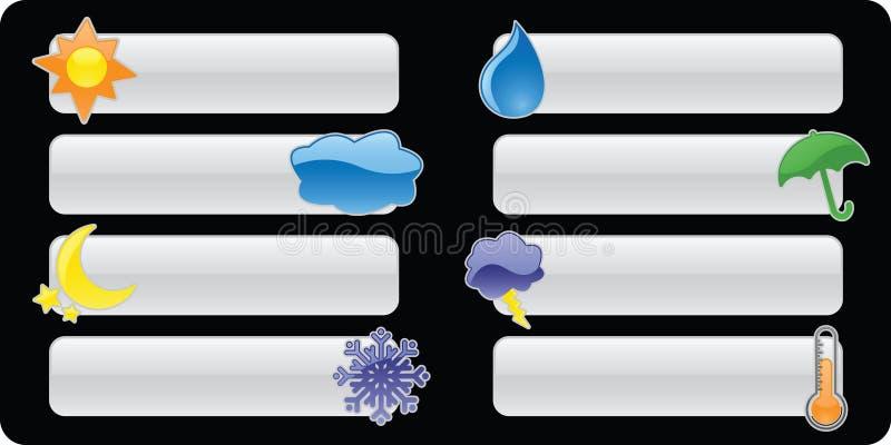 погода кнопок знамен лоснистая иллюстрация вектора
