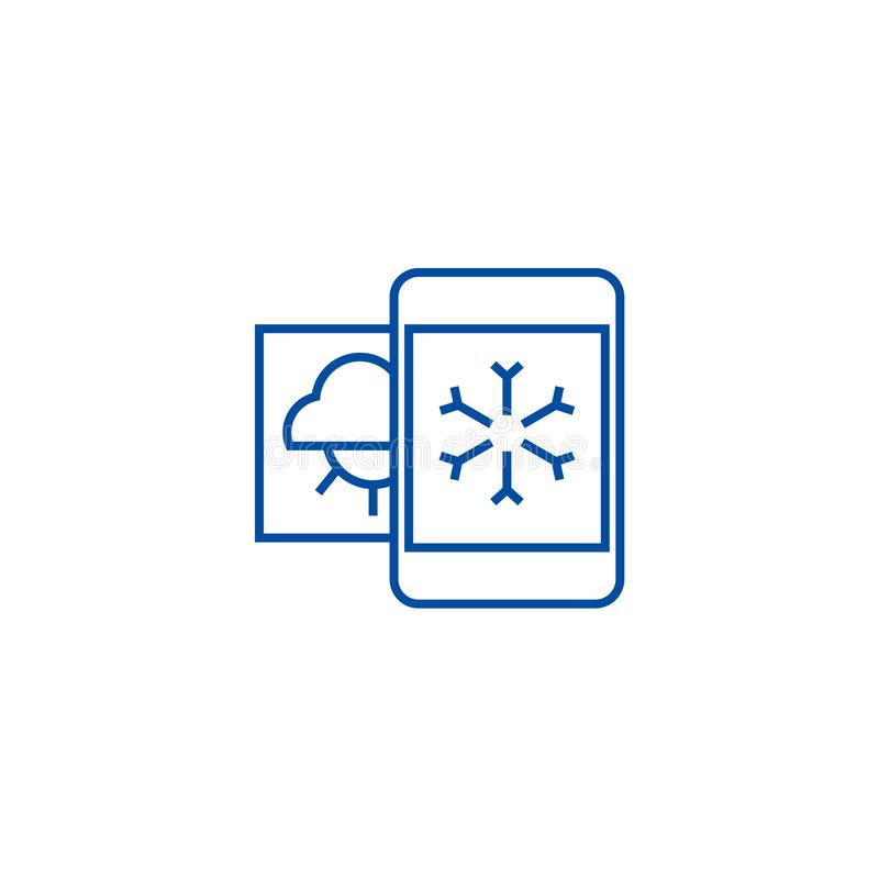 Погода, мобильная линия концепция смартфона значка Погода, символ вектора мобильного смартфона плоский, знак, иллюстрация плана бесплатная иллюстрация