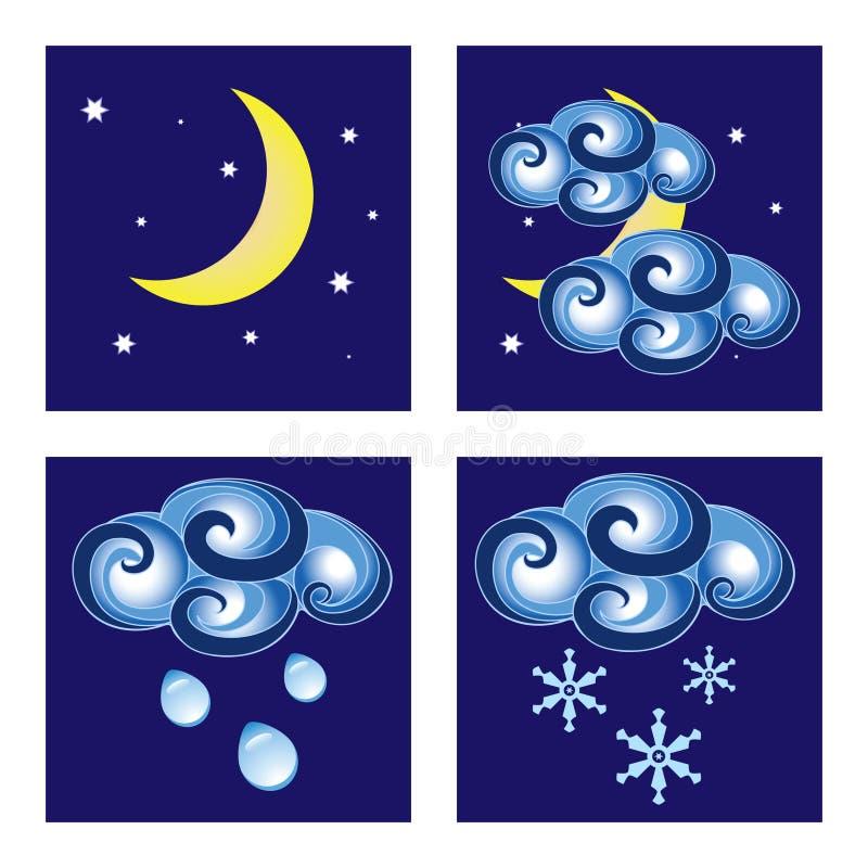 погода ночи икон иллюстрация штока