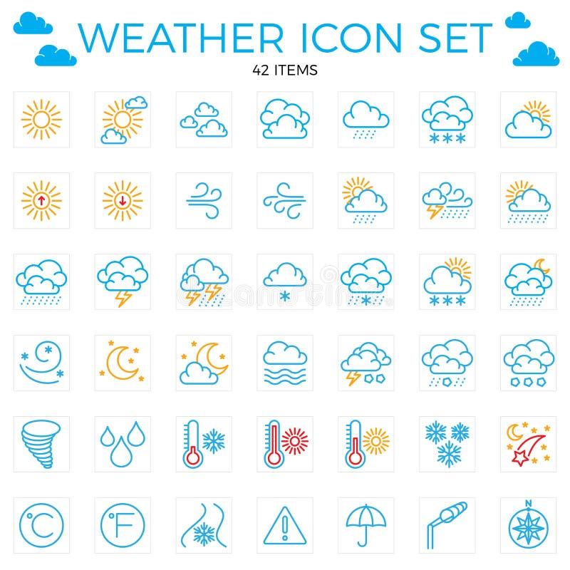 погода иконы установленная Линия значки 42 деталя Облака, солнце, дождь, umbrel иллюстрация вектора
