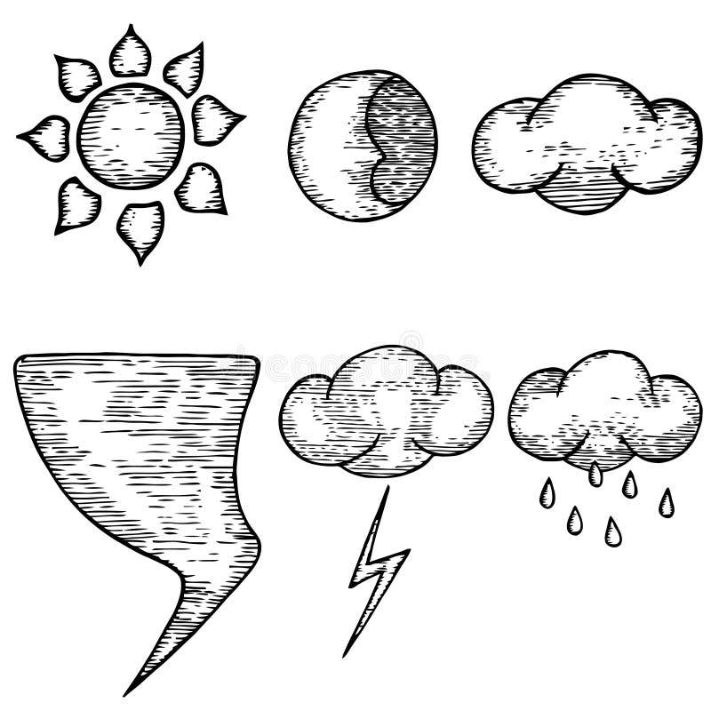 Погода нарисованная рукой Хорошая погода, плохая погода Вектор погоды бесплатная иллюстрация