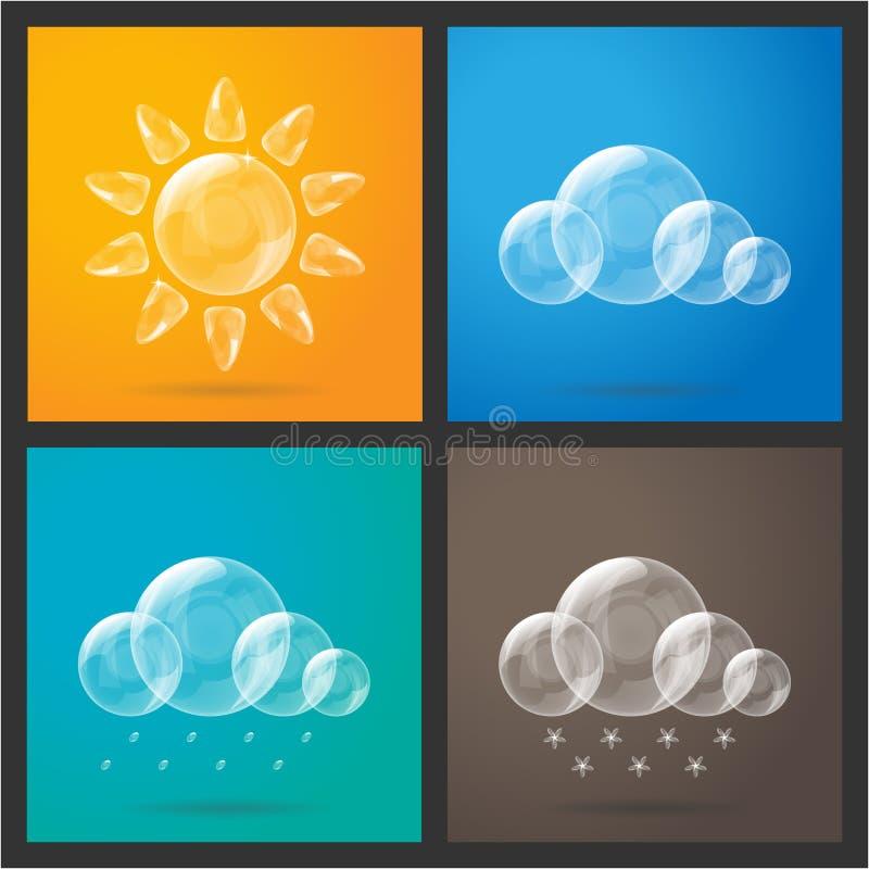 погода солнца дождя икон облака стоковое фото rf