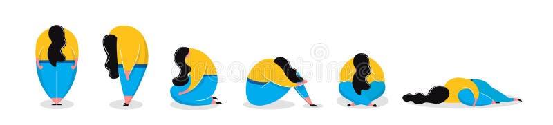 Подавленная девушка в лежать различной женщины представлений унылой стоя сидя иллюстрация вектора