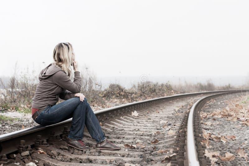 подавленная женщина стоковое фото rf