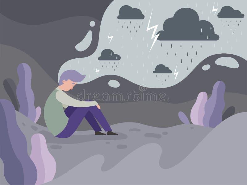 Подавленные люди Одиночество самостоятельно в предпосылке концепции вектора погоды уставшего человека города дождливой иллюстрация вектора