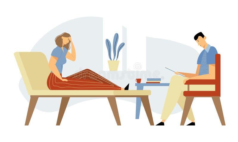 Подавленный клиент женщины в клинике лежа на кресле на встрече психолога для профессиональной помощи Доктор, специалист иллюстрация штока