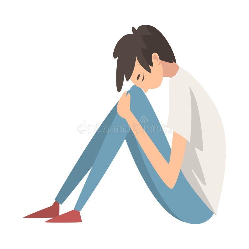 Подавленный мальчик сидя на поле обнимая его колени, несчастный усиленный подросток, сиротливый, встревоженный, злоупотребленный  иллюстрация штока