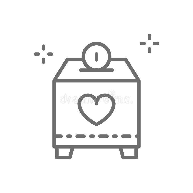 Подарите коробку с деньгами, призрением, вызываясь добровольцем линия значок иллюстрация вектора