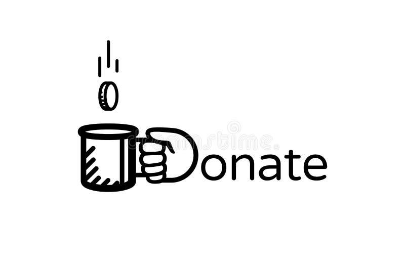Подарите логотип вектора денег Подарите и помогите Призрение, концепция пожертвования иллюстрация штока