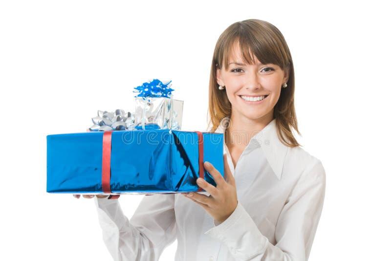подарки коммерсантки стоковое изображение
