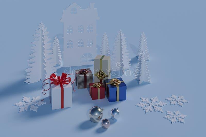 Подарки на зимние отдыхи бесплатная иллюстрация