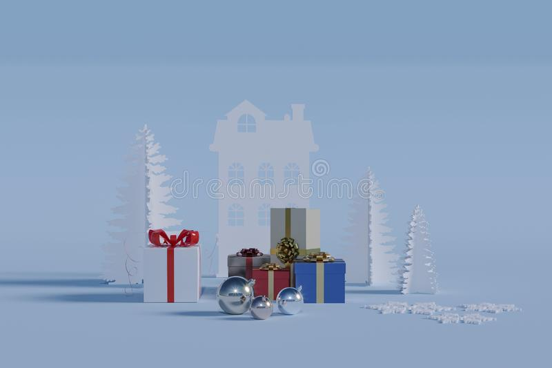 Подарки на зимние отдыхи иллюстрация штока