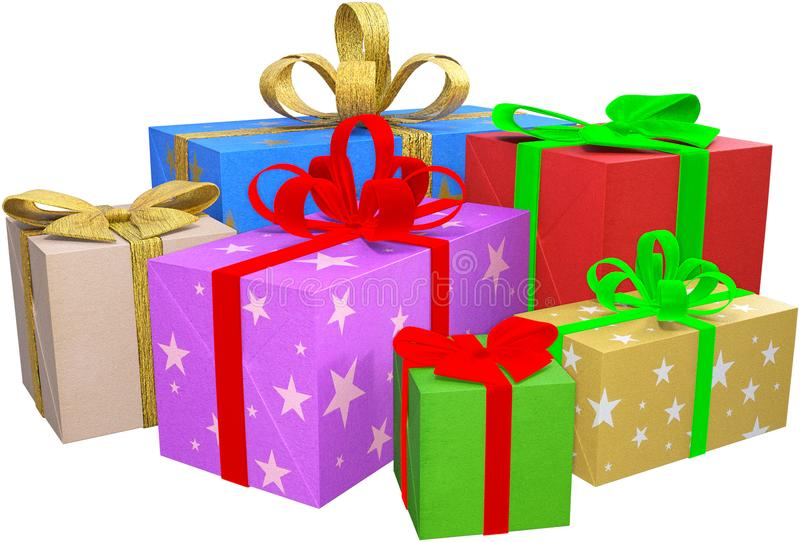 Подарки на рождество, подарки, изолированные пакеты, иллюстрация вектора