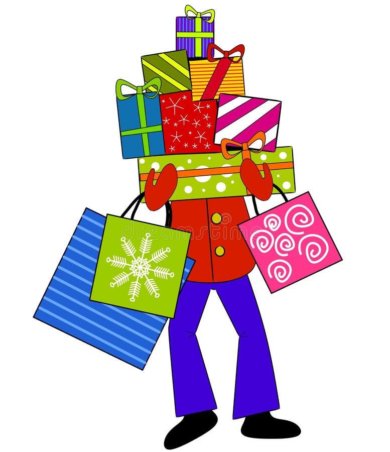 подарки на рождество нося иллюстрация вектора
