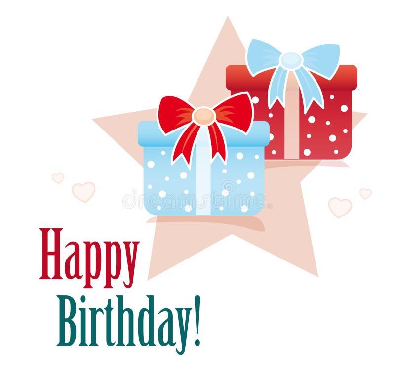 подарки поздравительой открытки ко дню рождения счастливые иллюстрация штока
