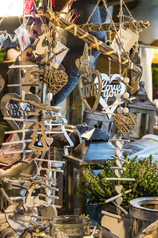 Подарки украшения рождества деревянные стоковая фотография rf
