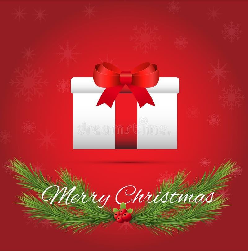 Подарок белого рождества на красной предпосылке иллюстрация вектора