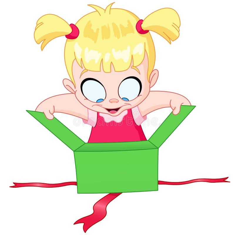 Подарок девушки открытый иллюстрация штока