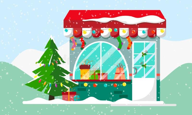 Подарок или настоящие моменты рождества ходят по магазинам Xmas зимы, торговый центр для семьи Рынок для торжества, фасад e празд иллюстрация вектора