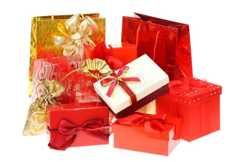 подарок коробок мешков стоковое фото rf