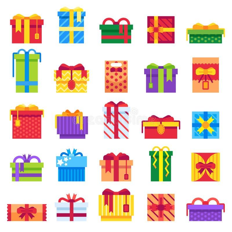 Подарок Кристмас Настоящие моменты зимы праздничные, секретные подарки Санты и бокс праздников присутствующий изолировали установ иллюстрация штока
