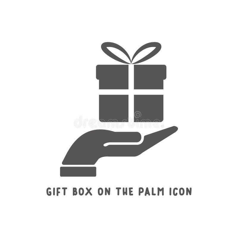 Подарочная коробка на иллюстрации вектора стиля значка руки ладони простой плоской иллюстрация штока